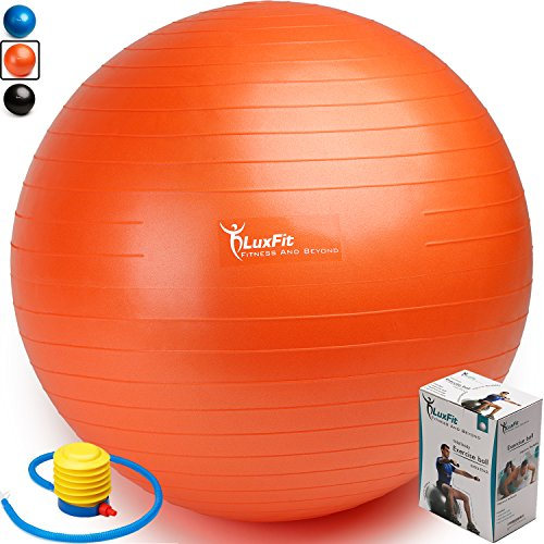 LuxFit Exercise Ball, Premium Extra Thick Yoga Ball '2 Year Warranty' - Swiss Ball Includes Foot Pump. Anti-Burst - Slip Resistant! 45cm, 55cm, 65cm, 75cm, 85cm Size Fitness Balls (Orange, 65cm)