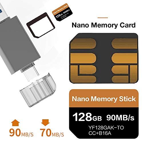 Findema | Tarjeta de Memoria de 128GB Tarjeta de Memoria Nano de 90MB S Tarjeta Nano SD Tarjeta Compact Flash, Solo Adecuada para Las Series Huawei P30 P30pro y Mate20