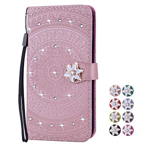 V-Ted Flip Case Lederhülle kompatibel für Apple iPhone 6S 6 Hülle Leder mit Muster Mandala Henna Rose Gold Handytasche Ledertasche klapphülle Wallet Cover Tasche Etui