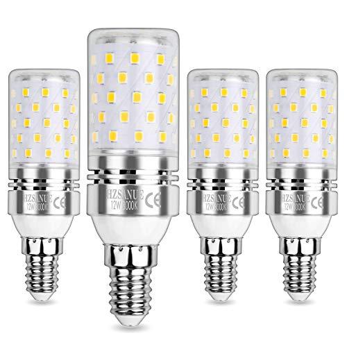 HZSANUE E14 Bombillas Maíz LED 12W, LED Bombillas Candelabros, 3000K Blanco Cálido, 1200LM, Bombillas Incandescentes de 100W Equivalentes, No Regulable, Paquete de 4