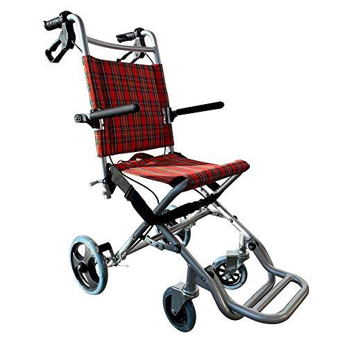 Mobiclinic, Modell Neptuno, Reiserollstuhl, Faltrollstuhl für ältere und behinderte Menschen, Leichtgewicht, Bremse, klappbare Fußstütze und Armlehnen, Sicherheitsgurt, Aluminium, Rot