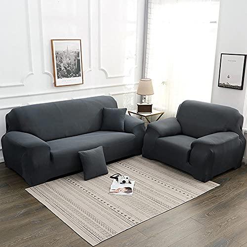 Coperchio di divano elasticizzato, copertura da 1 pezzo per 1 2 3 4 cuscino divano sofà Protector di mobili, lavabile Loveseat Slipcover per soggiorno-Grigio_4 posti (235-300 cm /