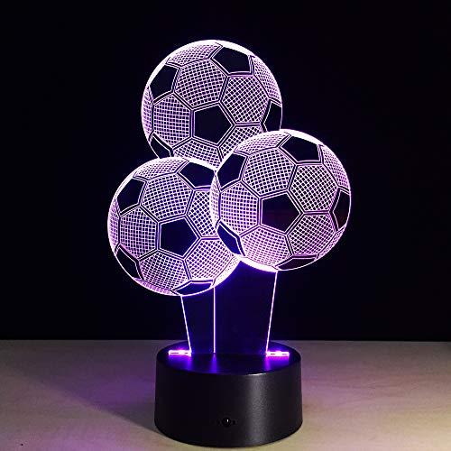 3D voetbal ballon nacht licht Illusie Lamp 7 kleur veranderen, met afstandsbediening met USB-kabel, voor kinderen kerstversiering, verjaardagscadeau, slaaplamp