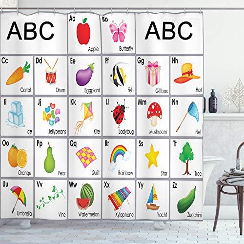 ABAKUHAUS Alphabet Duschvorhang, Quadrate mit Buchstaben für Kinder, mit 12 Ringe Set Wasserdicht Stielvoll Modern Farbfest & Schimmel Resistent, 175x220 cm, Mehrfarbig