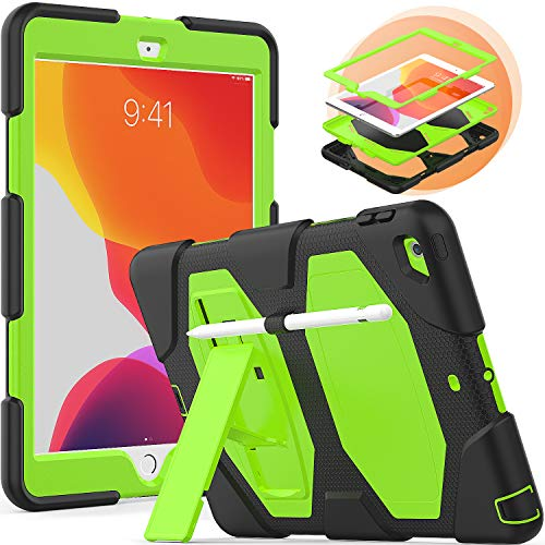 Timecity Rugged Case for iPad 10.2, New iPad 7th Generation Case with Pen Holder Foldable Kickstand, Rugged Heavy Duty Proteciton Schockproof Dustproof Scratch Resistance Protective Cover, Green