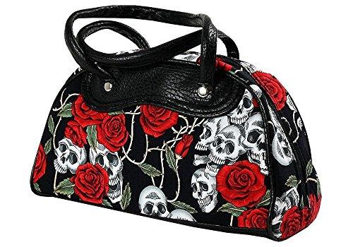 Top Fuel Tasche Black Roses Handtasche Rockabilly Oldschool groß II