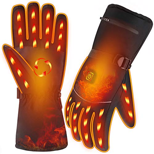 FoPcc Heated Gloves, Battery Powered Electric Winter Gloves for Men Women, 3 Heating Temperature Adjustable Waterproof Thermal Arthritic Gloves for Hunting Fishing Skiing Camping Cycling