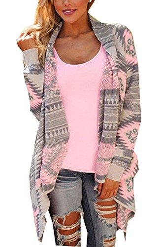 Minetom Cardigan A Maniche Lunghe da Donna Stampa Geometrica Jacket Elegante in Maglia Irregolare Maglione Sweatercoat (Rosa IT 40)