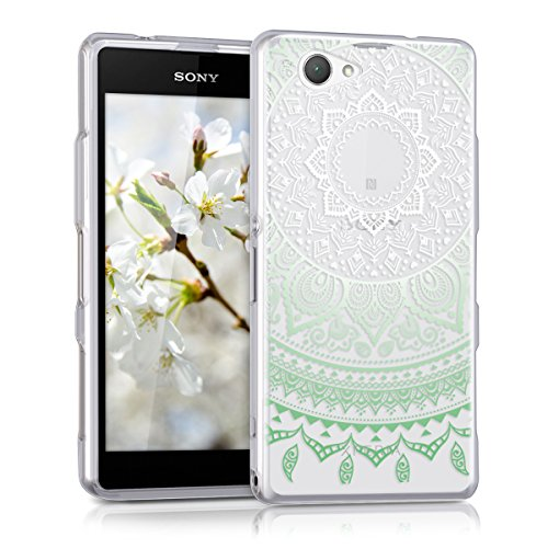 kwmobile Hülle kompatibel mit Sony Xperia Z1 Compact - Hülle Silikon transparent Indische Sonne Mintgrün Weiß Transparent