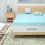 Mecor 4 Inch 4' 100% Gel Infused Memory Foam Mattress Topper -King Size Ventilated Design Bed Topper- Promotes Airflow - Relieves Pressure Points/Blue