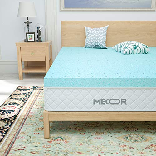 "Mecor 4 Inch Mattress Topper Queen Size-100% Gel Infused 4""Cool Memory Foam Mattress Topper for Queen Bed-Ventilated Foam Contributes to a Cooler Night Sleep, Soft but Firm Support, Blue"