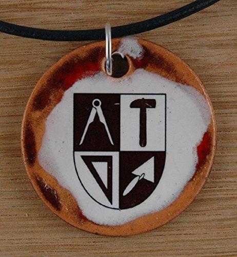 Echtes Kunsthandwerk: Schöner Keramik Anhänger mit dem Zunftzeichen Maurer; Handwerk, Zunft