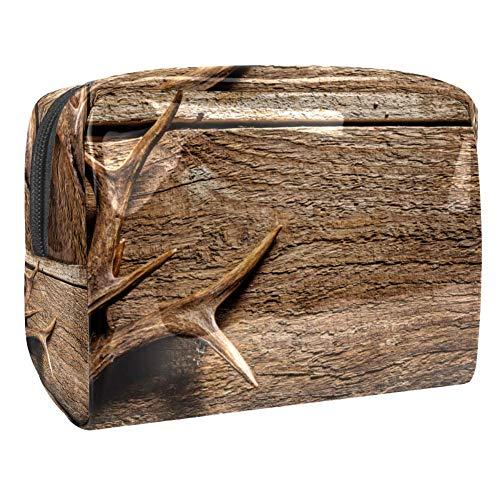 Trousse de toilette multifonction pour femme - En bois rustique - Marron
