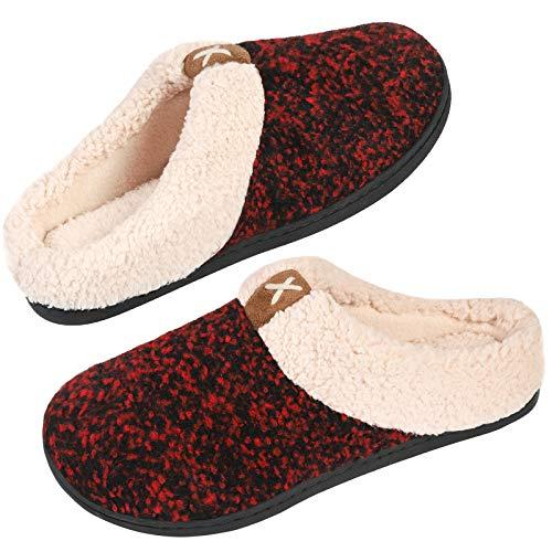 VeraCosy Damen Hausschuhe Memory-Schaum Fleece-Futter Wollähnlicher Plüsch Schuhe, Rot, 42/43 EU