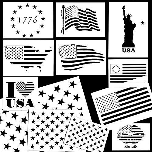 Whaline American Flag 50 Sterne Schablone Schablone Schablone zum Bemalen auf Holz, Stoff, Papier, Airbrush, Walls Art Stil Nr. 4