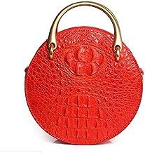 حقيبة يد نسائية دائرية مصنوعة من الجلد الطبيعي