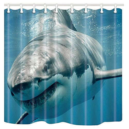 NYMB Cortina de ducha de poliéster resistente al moho de 177,8 x 177,8 cm, fantásticas decoraciones de cortinas de baño ganchos incluidos..., Multi80, 69'' W By 70'' L