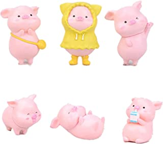 HYSTYLE 6 Pcs Miniature Pigs Figurines, Cute Pink Pig Family Toys Figures DIY Crafts for Fairy Garden Decoration Home Decorations Cake Toppers