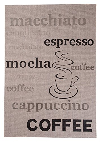 Carpeto Sisal Teppich Silber/Beige 80 x 150 cm Coffee Espresso Muster Flachgewebe Sisal Kollektion