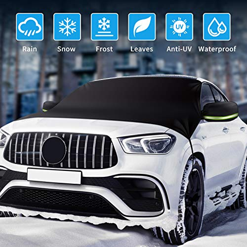 Rouffiel Car Windshield Cover for Ice Snow[2020 Upgrade], Frost Guard Windshield Cover with Mirror Covers and Windproof, Snow Cover for Anti-UV Frost Guard Keeps Ice & Snow Off, Fit for Most Vehicle