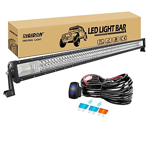 RIGIDON Barra de luz led, 50 pulgadas 648W Tri fila Barras luminosas led y 12V kit de cableado, Barra de trabajo led para off road camión coche ATV SUV 4x4 barco, Lámpara de conducción 6000K blanco