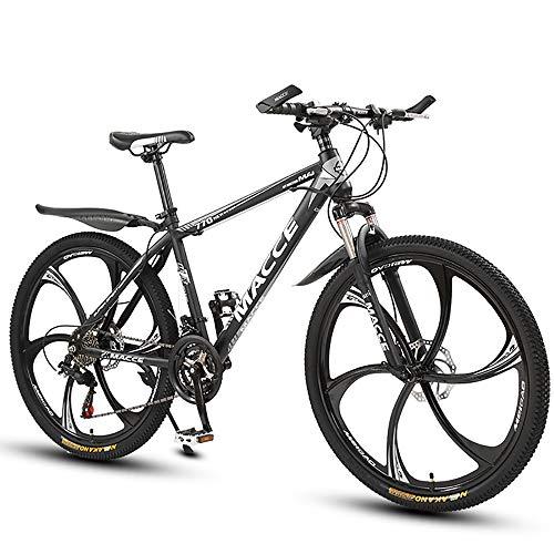 ZLMI Mountain Bike Uomo 27 velocità Doppio Freno Disco 29 Pollici Bici Città per Qualsiasi Terreno Solo Adulti Ciclismo All'aperto Coda Dura Sospensioni Anteriori,Nero