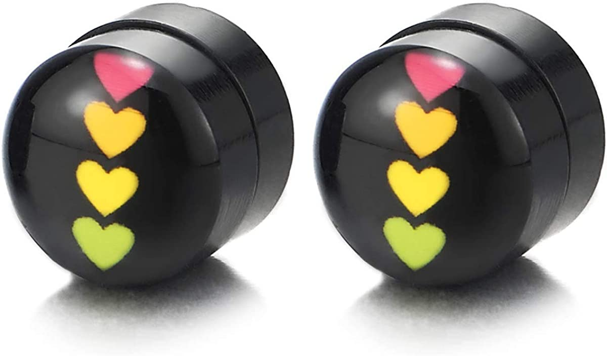 8MM Magnetic Black Circle Stud Earring with Line of Colorful Hearts, Non-Piercing Clip On Fake Ear