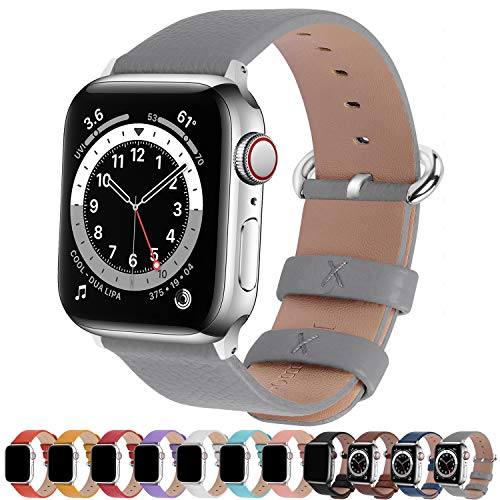Fullmosa kompatibel mit Apple Watch Armband 44mm 42mm 40mm 38mm Series SE/6/5/4/3/2/1, Leder Ersatzarmband für iwatch original Band,Grau 38mm(Series 4 40mm)