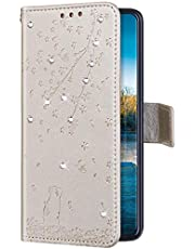 Uposao Funda con Tapa para Samsung Galaxy J5 2017 Cuero Piel Sintética,Bling Glitter Purpurina Diamante Funda Flores de Cerezo Gato Patrón Billetera Bookstyle Flip Case Carcasa Caja Teléfono,Oro