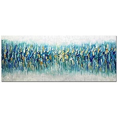 AMEI Art Paintings,24x60Inch 3D Hand Painted On Canvas Oversized Teal Blue Abstract Seascape Artwork Texture Palette Knife Oil Paintings Modern Home Decor Wall Art Wood Inside Framed Ready to Hang from Amei Art