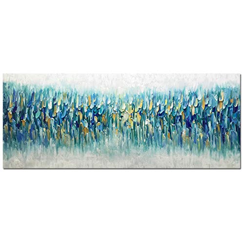 AMEI Art Paintings,24x60Inch 3D Hand Painted On Canvas Oversized Gold Blue Abstract Seascape Artwork...