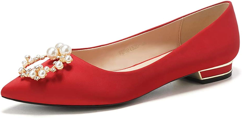 QYQblx Wedding Bride Princess Crystal shoes Champagne Pearl Wedding Bridesmaid Flat shoes