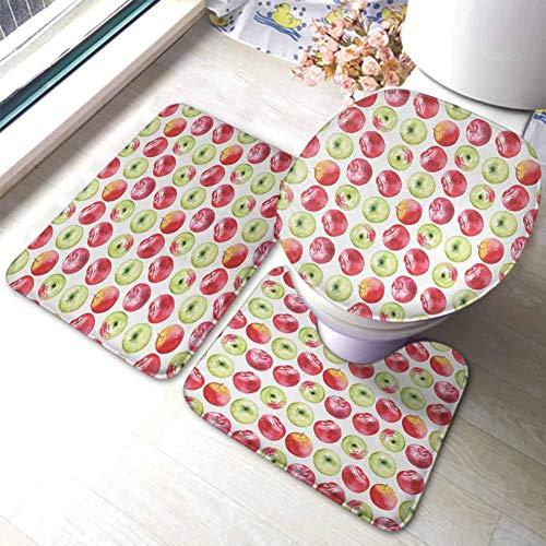 qinzuisp Floor Mat Apple Aquarell Macoun Cameo Und Granny Smith Zeichnung Im Landwirtschaftlichen Ertragsmuster Apfelgrün Rot Willkommen Badezimmermatten Set Büro U-Förmige Toilettenmatte 3