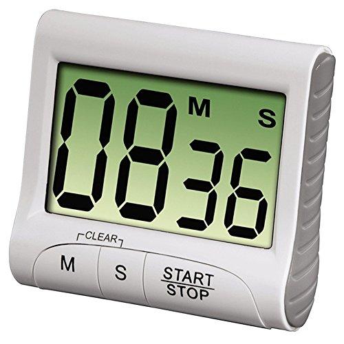 Kentop electrónica de Cocina Digital Temporizador Cronómetro Alarma de Gran Pantalla LCD con Soporte magnético, Weiß, 8,2×7,2×2,8CM