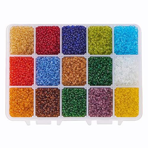 PandaHall PH 21000 stücke 15 Farbe 12/0 Transparentem Glas Rocailles 2mm Mini Perlen mit Container Box für Schmuck Machen