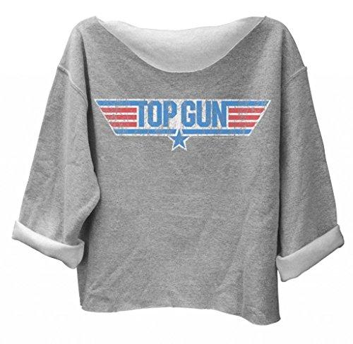 Top Gun Distressed Logo, Baggy Off The Shoulder Gray Sweatshirt, Junior Fit, Small