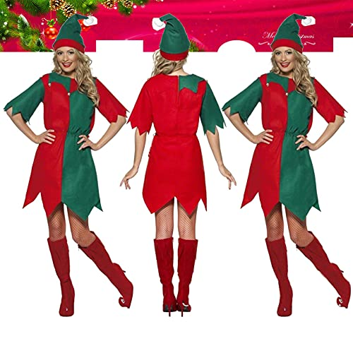 Gidenfly Disfraz de Santa Claus para mujer, disfraz de Pap Noel, disfraz de Navidad para mujer, disfraz de elfo para baile, cosplay, Navidad, rbol de Navidad, talla nica