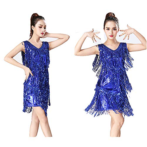 Abiti da Ballo per Donna Donne Dancewear Metallic Paillettes con Frange di Paillette Sala da Ballo Samba Tango Vestito da Ballo Latino Costumi da Concorso Vestito da Rumba Elegante