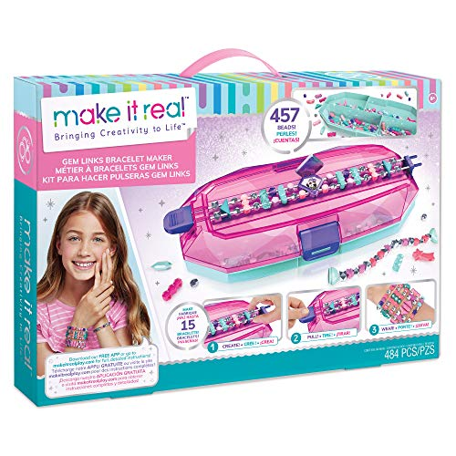 Make It Real – GemLinks Bracelet Maker - DIY Bead Bracelet Making Kit for Girls - Arts and Crafts Kit with Jewelry Making Supplies - Easy to Use Bracelet Maker with Colorful Beads