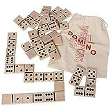 Bartl 103926 Extra Large Domino XXL de Madera de Haya Natural Ideal para niños pequeños y Personas Mayores (28 Piezas de 8 cm x 4 cm) con una práctica Bolsa de algodón para Guardar