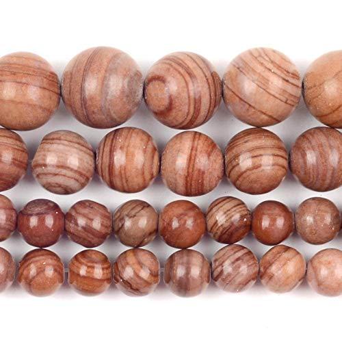 Cuentas de piedra de jaspes de madera de color naranja natural para hacer joyas, 6/8/10 mm, hecha a mano