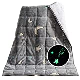 Sivio Kids Glow in The Dark Weighted Blanket 3lbs, Star Moon Patterned Blanket Suitable for Bed Couch, Sherpa Fleece Heavy Blanket for Children Between 19 - 40 lbs, 36 x 48 Inches