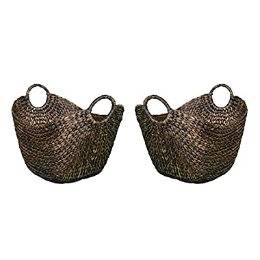 BirdRock Home Water Hyacinth Laundry Baskets (Espresso) | Two Baskets Included | Hand Woven