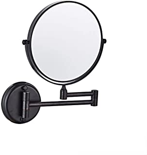 MXD Mirror Free Punching Bathroom Mirror Wall Mounted Mirror Bathroom Folding Double Sided Magnifier Black (Size : S)