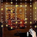 BLOOMWIN Guirnaldas Luminosas Estrellas Cortina Luces 2m x 1.6m 144 LED 80...