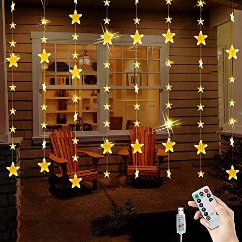 BLOOMWIN Lichtervorhang 80 Sterne Lichterkettenvorhang USB 2x1,6M 144LEDs Stimmungslichter 8 Modi IP44 Weihnachtsbeleuchtung mit Fernbedienung LED Lichterkette Feiertage Weihnachten Party Hochzeit