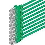 1m - Verde - 10 Piezas - Cable de Red Ethernet con Conectores RJ45 CAT6 Cat 6 Cat.6 1000 Mbit/s