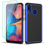Galaxy A20 Case, Zectoo Galaxy A30 Case with Screen Protector Shockproof Dual Layer Hard PC Soft TPU Armor Defender Protective Cover Case for Galaxy A20/A30 - Blue