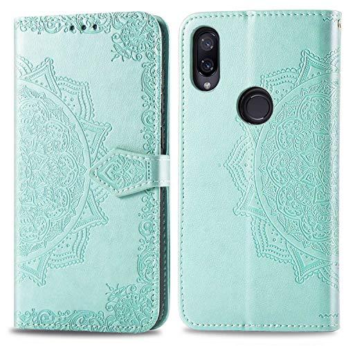 Bear Village Hülle für Xiaomi Redmi Note 7 / Redmi Note 7 Pro, PU Lederhülle Handyhülle für Xiaomi Redmi Note 7 / Redmi Note 7 Pro, Brieftasche Kratzfestes Handytasche mit Kartenfach, Grün