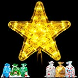 Christmas Star Tree Topper Lighted 9' Gold Tree Topper with 6pcs Party Favor Bags for Christmas Tree Decorations Ornaments